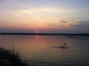 Apus de soare la lacul sarat